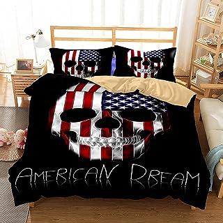 APJJQ Skull Bedding Set Adutls Red Blue White American Dream Skull Duvet Cover Set Black Queen 3 Piece(1 Duvet Cover 2 Pillow Shams) Bed Set for Teens Boys Girls Women Men No Comforter