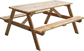 Gardenised QI003469L.N A-Frame Outdoor Wooden Patio Deck Garden Picnic Table (Natural)