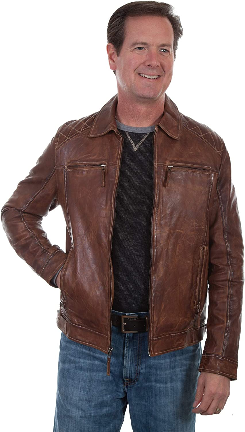 Scully Men's Leatherwear Washed Lamb Leather Jacket Tall Brown X-Large Tall