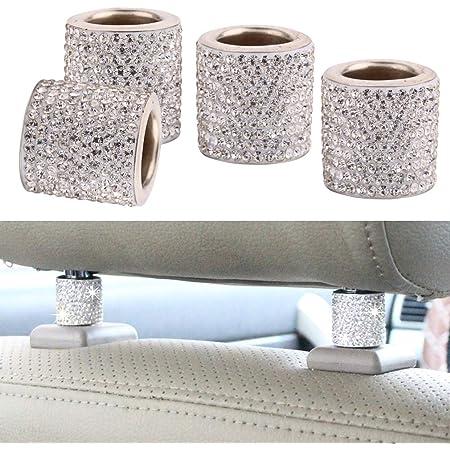 Auto Sitz Kopfstützen Halsbänder Dekor 4 Stück Universal Diamant Kristall Bling Dekor Für Auto Innendekoration Auto Zubehör Weiß Auto