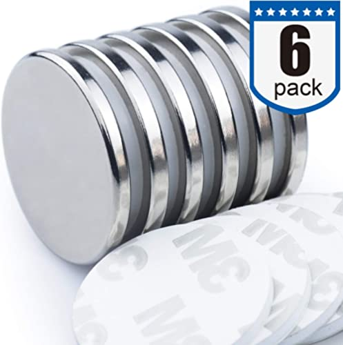 DIYMAG Powerful Neodymium Disc Magnets with Double-Sided Adhesive, Strong Permanent Rare Earth Magnets for Fridge, DIY, Building, Scientific, Craft, and Office Magnets, 1.26 inch Diameter, Pack of 6 product image