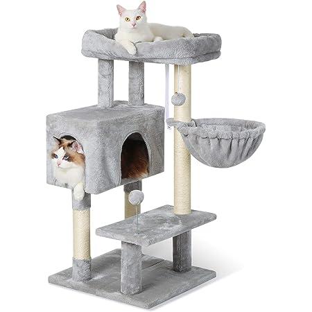 """Rabbitgoo Árbol de gato, torre para gatos de 38 """"con base ajustable para gatos de interior, condominio para gatos de varios niveles con postes rascadores y percha grande, soporte para gatos pequeños, muebles de escalada con felpa para gatitos que juegan y descansan"""