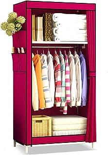 Garde-robe XINYALAMP Armoire Portable Organisateur de Couverte de avec Armoire de Rangement (Color : Burgundy)