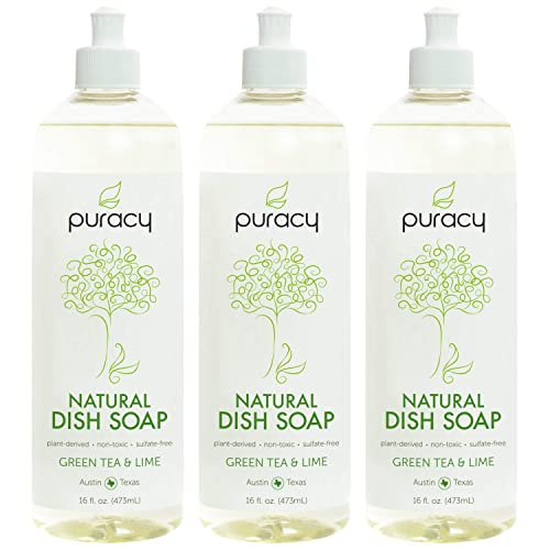Puracy Natural Liquid Dish Soap, Sulfate-Free Detergent, Green Tea & Lime,