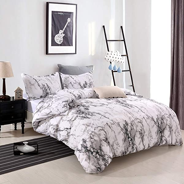 YMY Lightweight Microfiber Bedding Duvet Cover Set Marble Pattern White Marble Queen