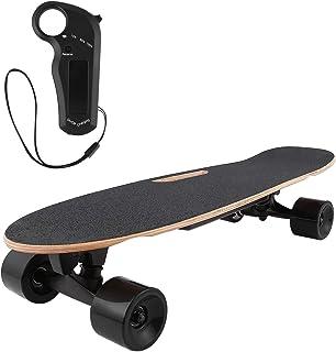 AMDirect Monopatín Eléctrico con Control Remoto y Sistema de Arranque de Empuje E-Board Longboard con Motor Li-Ion 2.2 Ah Velocidad hasta 20 km/h para Adolescentes Adultos