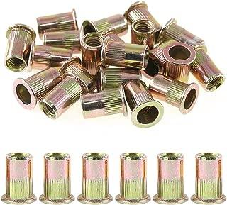 Rustark 100-Pcs 5/16''-18UNC Mixed Zinc Plated Carbon Steel Rivet Nut Flat Head Insert Nutsert Assortment Kit
