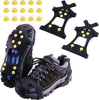 Carrymee Crampons Antid/érapant sur Chaussures,rampons pour Chaussures Antid/érapant avec 10 Clous /à Neige Grips,Gu/êtres de Randonn/ée Imperm/éable