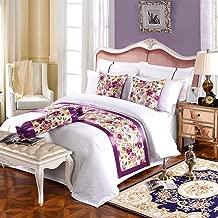 TQBT Chemin De Lit Foulard Lit Drapeau Hotel Style Ethnique Fleurs Violettes