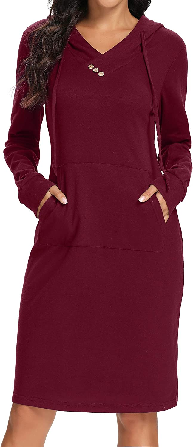 Kimmery Sales results No. 1 Womens Hoodie Dresses Buttons Casual Swe Pocket New popularity Kangaroo