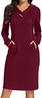 Kimmery Long Sleeve Drawstring Buttons Kangroo Pocket Sweatshirt Hoodie Dress