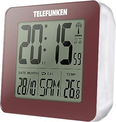 TELEFUNKEN FUD-25 - Despertador digital (pantalla LCD, DCF, con termómetro, indicador de temperatura y calendario, cambio de hora), color rojo burdeos