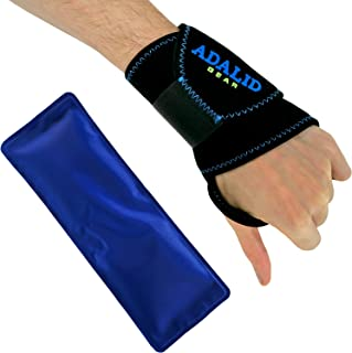 Wrist Ice Gel Pack with Support Brace for Hot and Cold Therapy - Adjustable Wrap, Multi-Purpose, Microwaveable and Reusable (One Size, Left or Right Hand)