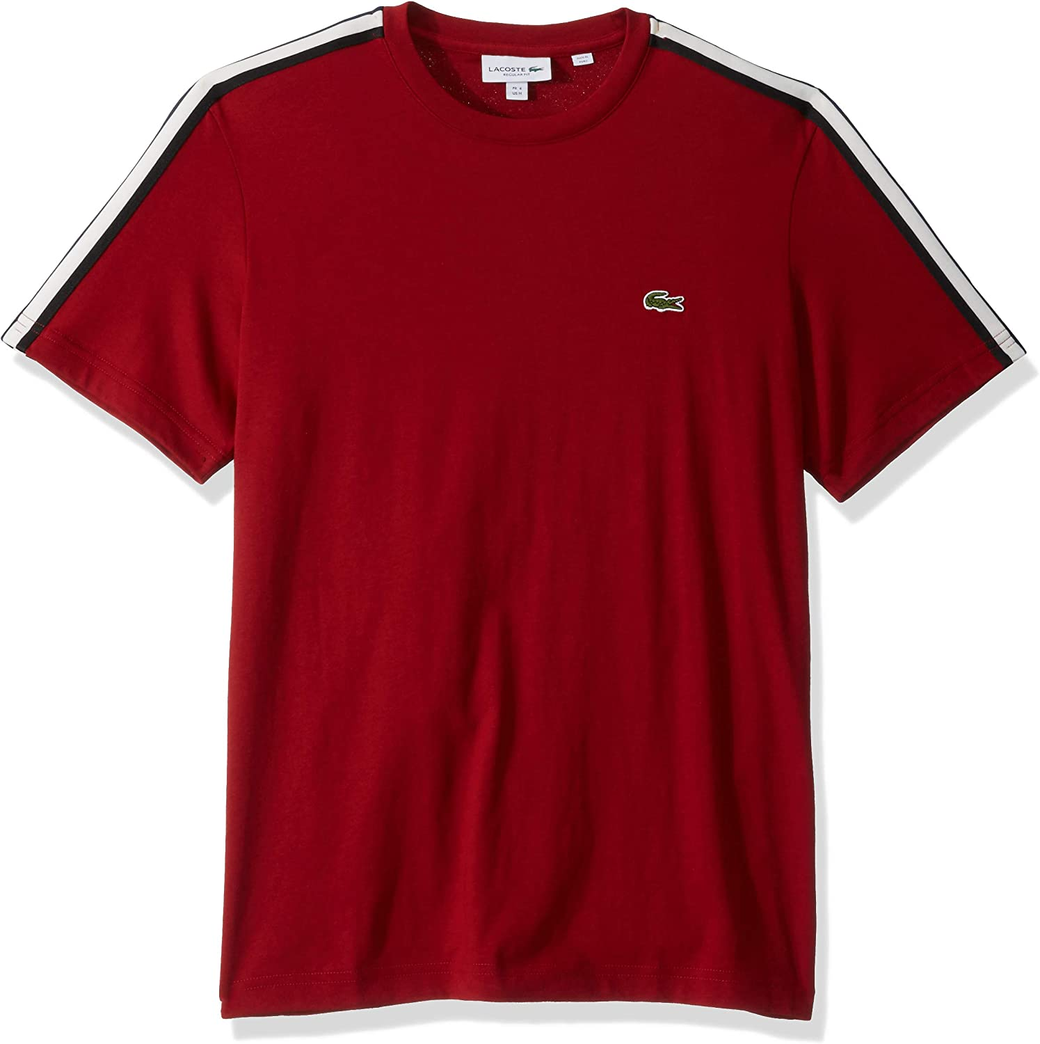 Lacoste Mens Short Sleeve Jersey Striped Sleeve T-Shirt