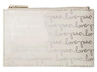 Kate Spade New York Love Pencil Pouch (Silver) Wallet
