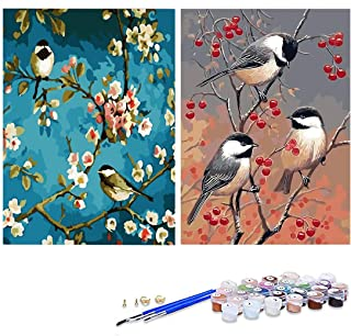 GIEAAO Acrylic Paint by Numbers for Adults Bird, DIY Oil Painting Kit Tree Canvas Pictures Drawing Paintwork with Paintbru...