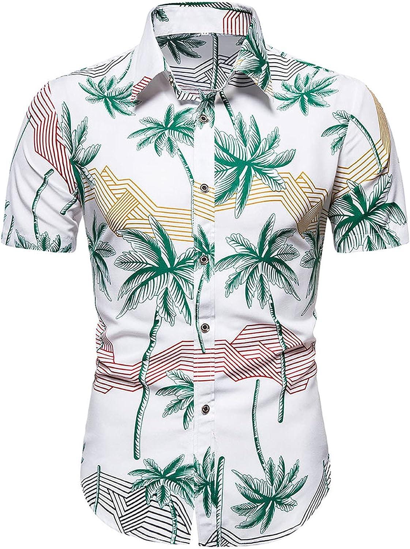 Men's Summer Slim-Fit Short Sleeve Lapel Shirts Casual Stripes Button Down Tops Business Chambray Dress Shirt