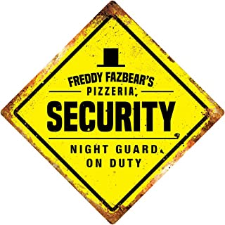 FNAF Security Yellow Diamond Metal Wall Sign Plaque Game Bedroom Night Guard Decor Novelty Art Sign Funny Aluminum Metal Tin Signs