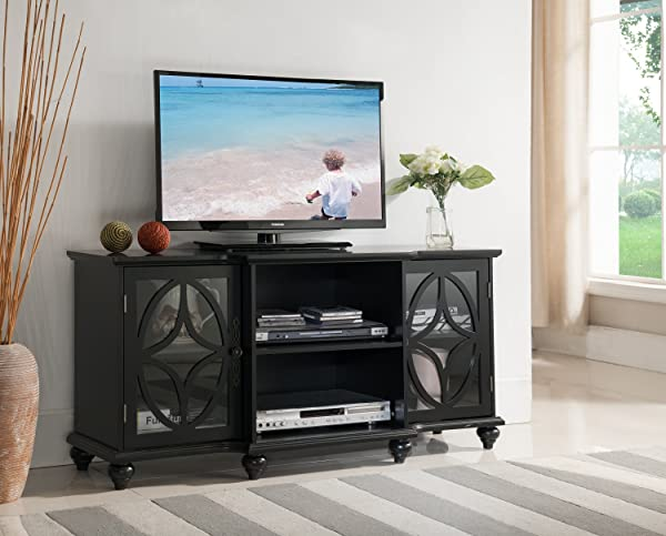 Kings Brand Furniture TV Stand Entertainment Center Black Finish Wood