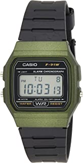 Casio Unisex-Adult Quartz Watch, Digital Display and Resin Strap F-91WM-3AEF