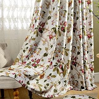 MYRU Grommet Top Vintage Floral Curtains Flowers Birds Curtains for Living Romm Bedroom (2 Panels 51