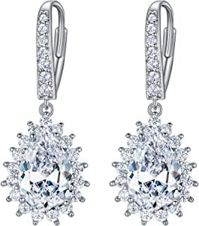 EleQueen Women's Full Prong Round Cubic Zirconia Bridal Lever-back Earrings Clear