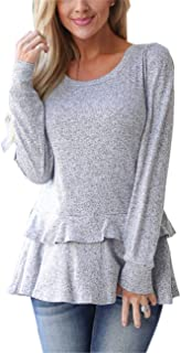 Moly Magnolia Women's Sweaters,Long Sleeve Layered Ruffle Casual Loose Knit Pullover Tunic Sweatshirts Tops