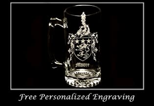 Moore Irish Family Coat of Arms 27oz Beer Stein: Free Shipping & Personalized Engraving, Family Crest, Etched Clan Crest