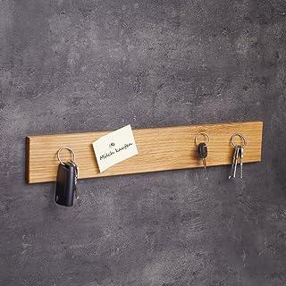 WOODS Llavero de madera magnética I Soporte para llaves I Soporte magnético para cuchillos I Decoración de pared de madera hecha a mano en Baviera I Llavero Home I Soporte para llaves (roble, 45 cm)