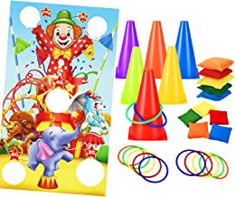 Invech Carnival Game Set with Toss Banner,4 in 1 Plastic Cones Bean Bag Ring Toss Games for Kids Birthday Party Outdoor Ga...