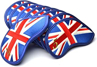 COOLSKY Golf Club Leather Iron Head Covers USA/UK Flag Pattern Thick Synthetic Pu Fit Most Irons and Wedges,Set of 9