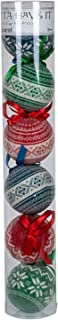 Nordic Knit Red Blue and Green 3 inch Ball Shape Christmas Ornament Set of 6