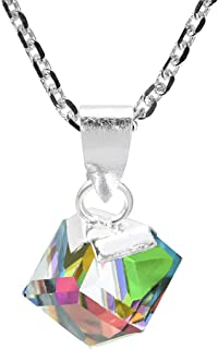 Gleaming Rainbow Fashion Crystal Cube Prism .925 Sterling Silver Pendant Necklace