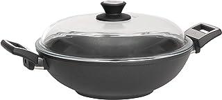 2751 SKK titan induction-wok en fonte avec couvercle en verre ø 32 cm