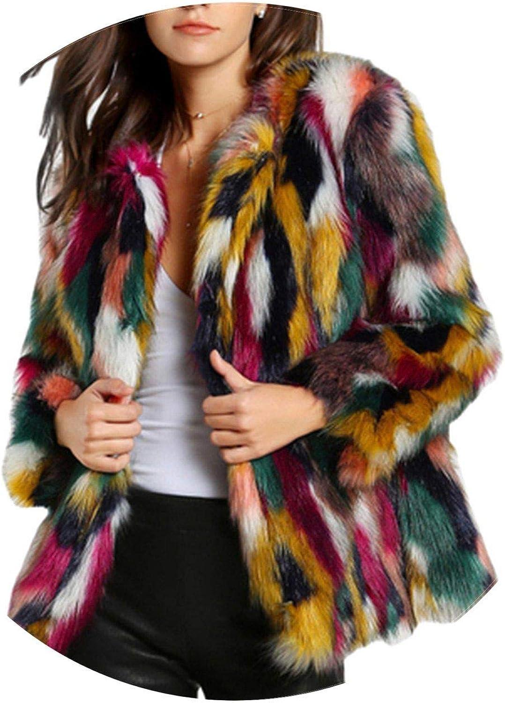 Summerlavender Women Elegant Fur Coats colorful Faux Fur Coat Sleeve Collarless Woman Winter Fur Coats