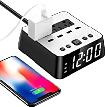 LED Digital Alarm Dual Clock Power Strip Charger 4 USB Ports Surge Protection 4 Dimmer Brightness Snooze for Bedside Extender Cord Socket iPhone Ipad Samsung Computer Laptop Home Office Travel Hotel