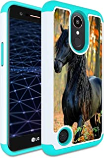 LG Aristo Case, LG Phoenix 3 Case, LG K8 2017 Case, LG Fortune Case, AMOOK Shockproof Hybrid Dual Layer Heavy Duty Bumper Protective Case Cover for LG LV3,Beautiful Black Horse