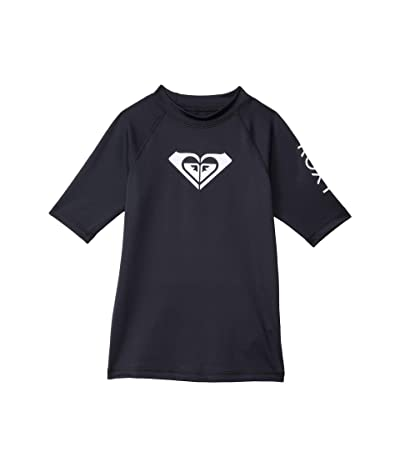 Roxy Kids Whole Hearted Short Sleeve Rashguard (Toddler/Little Kids/Big Kids) (Anthracite) Girl