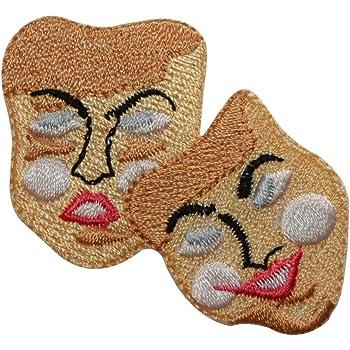 Mardi Gras Drama Embroidered Iron On Applqiue Patch Drama Faces