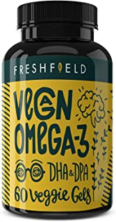 Freshfield Vegan Omega 3 DHA Supplement: 2 Month Supply. Premium Algae Oil, Plant Based, Sustainable, Mercury Free. Better Than Fish Oil! Supports Heart, Brain, Joint Health - with DPA (Natural, 60)