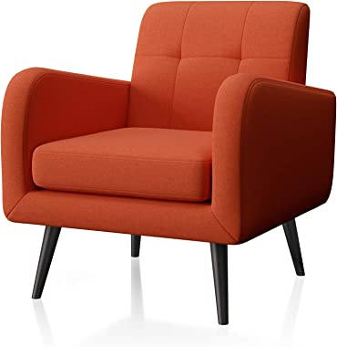JustRoomy Modern Accent Chair Fabric Armchair Living Room Chair Upholstered Arm Chair Comfy Mid-Century Leisure Lounge Chair