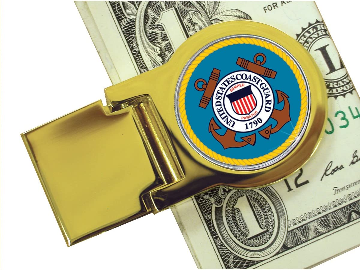 Coin Money Clip - Washington Quarter Colorized with the Coast Guard Emblem | Brass Moneyclip Layered in Pure 24k Gold | Holds Currency, Credit Cards, Cash | Genuine U.S. Coin