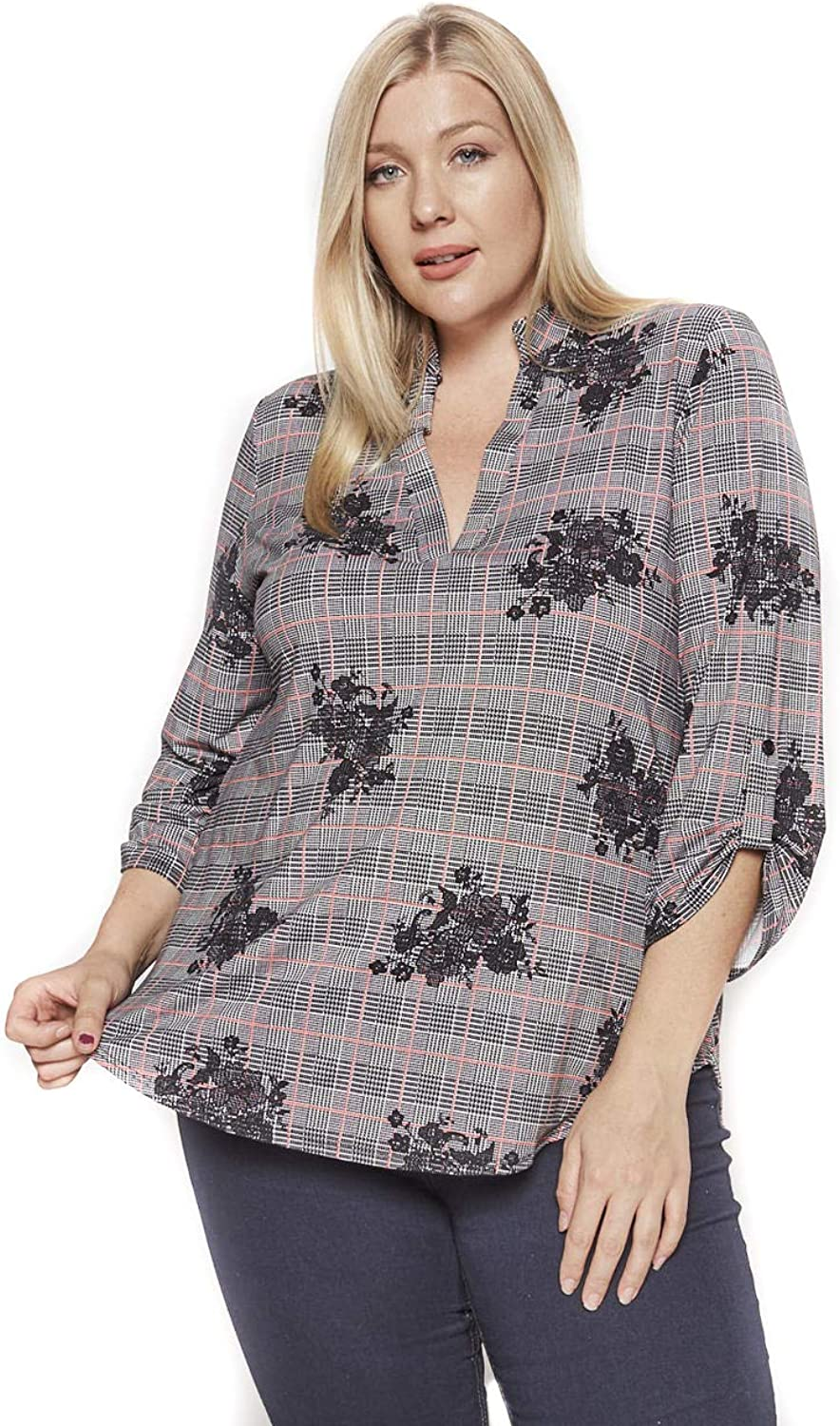 Allora Betsy Red Couture Women's Notch Neck Tunic Top (S3X)