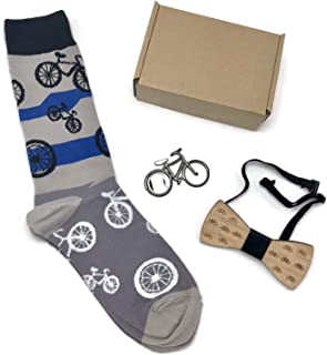 Bicycle Theme Gift Bundle for Men - Set of 3 Items in Box - Crew Socks, Bottle Cap Opener & Wooden Bow Tie