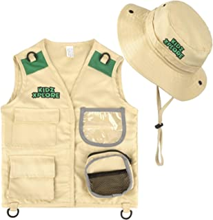 Kidz Xplore Outdoor Adventure Kit for Young Kids – Cargo Vest and Hat Set Backyard Explorer Safari Costume and Dress Up for Park Ranger, Paleontologist, Zoo Keeper Kid and Scavenger Hunt