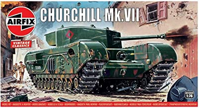 Airfix Quickbuild A01304V Air fix Vintage Classics Churchill MK VII Tank 1, 76 Military Ground Vehicle Plastic Model Kit, Gray