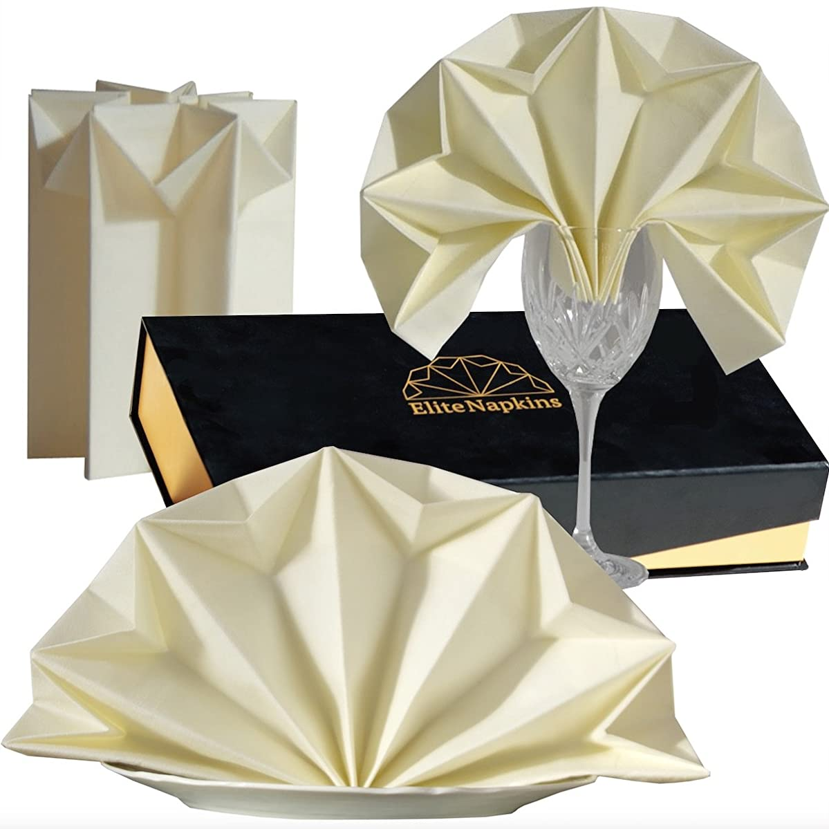 Dinner Napkins PRE FOLDED Decor Guest Towels For Kitchen Parties Weddings Dinners or Events Cloth Linen like Paper CHAMPAGNE beige color 10 Count