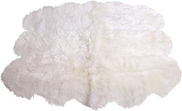 Naturasan Schafsfell Lammfell Teppich Decke aus 6 Fellen Weiss, Flokati, Shaggy, SCHAFFELLTEPPICH Schaffell Teppich Weiss aus 6 Fellen
