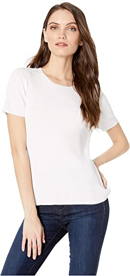 Tori Ribbed Knit Short Sleeve Crew Sweater