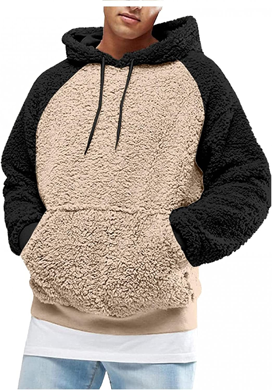 Aayomet Mens Hoodies Fuzzy Fur Pullover Long Sleeve Hoodies With Kanga Pocket Casual Fashion Lightweight Sweatshirts
